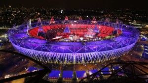The Olympic Stadium is seen during the opening ceremony of the London 2012 Olympic Games July 27, 2012. REUTERS/Marko Djurica (BRITAIN - Tags: SPORT OLYMPICS)