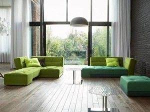soggiorno divano verde